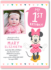 disney minnie mouse one birthday invitation 5x7 flat