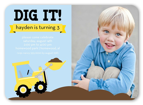 We Dig Trucks 5x7 Invitation Card Birthday Invitations – 3 Year Old Birthday Invitation