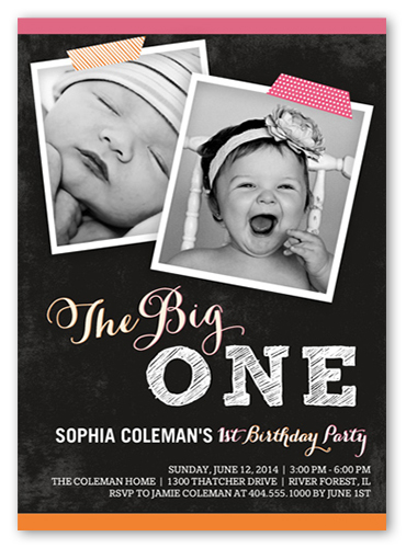 Celebrating One Birthday Invitation, Square Corners