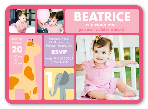 Little Safari Girl Birthday Invitation, Square