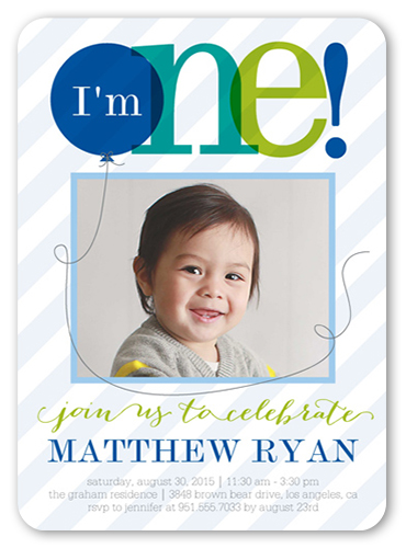 Sheer One Boy Birthday Invitation 5x7 Flat