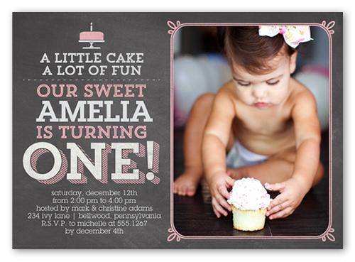 Little Cake Girl Birthday Invitation, Square Corners