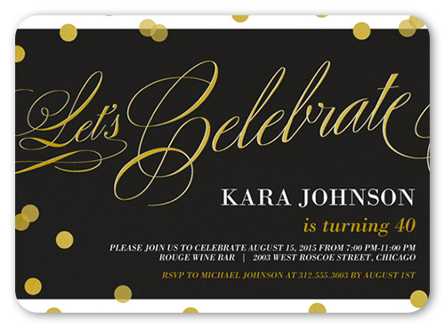Confetti Sparkle Birthday Invitation, Rounded Corners