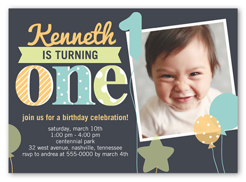 Fun Balloons X Birthday Invitations Shutterfly - Birthday invitations for baby boy 1st