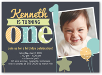 1 Photo 5x7 Baby Boy 1st Birthday Invitations Birthday Invites