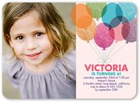 glitter balloons girl birthday invitation 5x7 flat