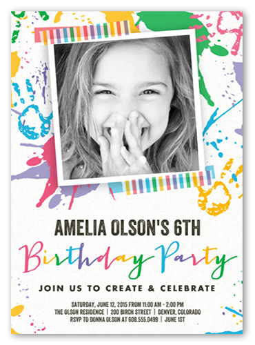 Paint Splash Bash Birthday Invitation, Square Corners
