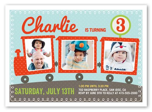 Party Train 5x7 Custom Boy Birthday Invitations