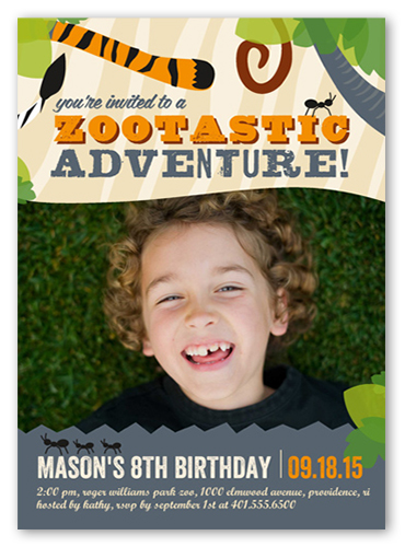 Zootastic Adventure Birthday Invitation, Square Corners