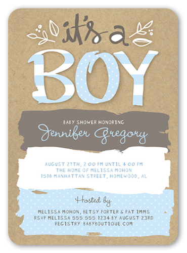 Pattern Shower Boy Baby Shower Invitation