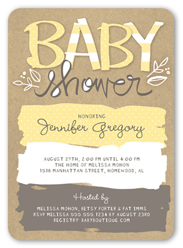 Pattern Shower Baby Shower Invitation, Square
