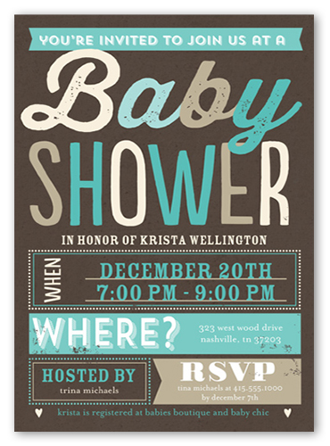 blissful shower boy 5x7 greeting card | baby shower invitations, Baby shower invitations