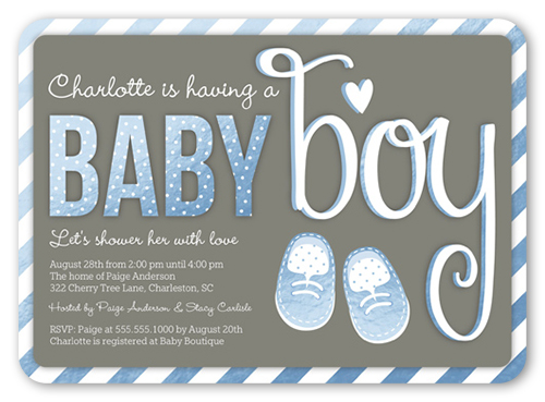 Baby Booties Boy 5x7 Greeting Card Baby Shower Invitations
