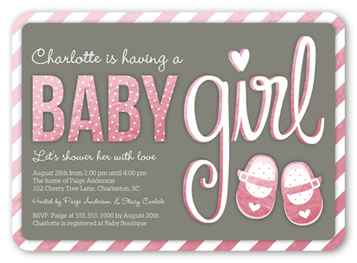 Seven things to include on your baby shower invites shutterfly baby booties girl baby shower invitation filmwisefo Image collections