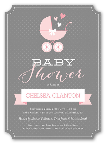 buggy and banner girl greeting card  baby shower invitations, Baby shower invitation