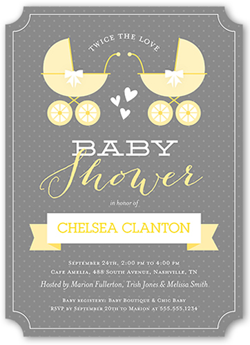 Yellow and gray baby shower invitations shutterfly twice the love baby shower invitation filmwisefo