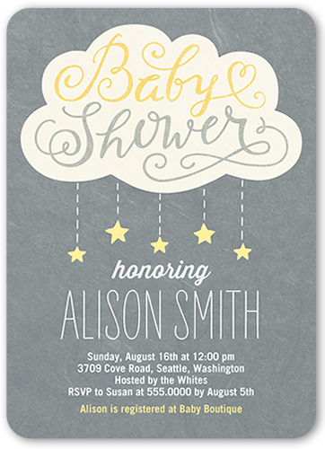 Showering Stars Girl 5x7 Invitation Baby Shower Invitations
