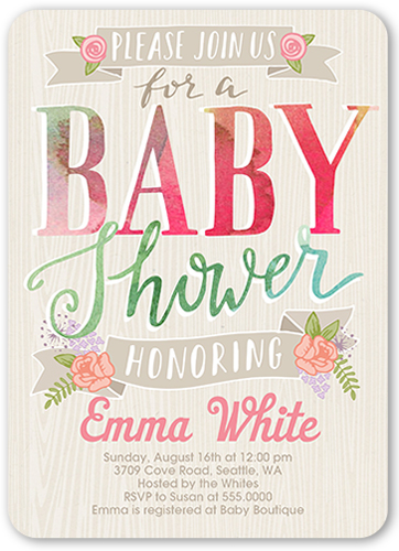 Floral Banner 5x7 Invitation Baby Shower Invitations Shutterfly