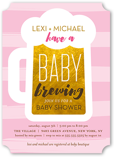 Baby Brewing Girl Baby Shower Invitation, Ticket Corners