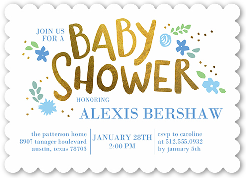 Floral Arrival Boy Baby Shower Invitation, Scallop Corners