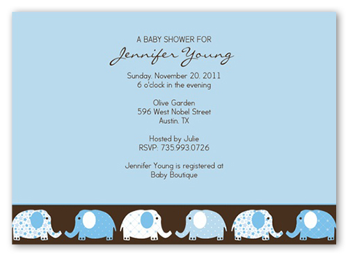 Elefriends Shower Blue Baby Shower Invitation