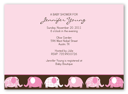 Elefriends Shower Pink Baby Shower Invitation