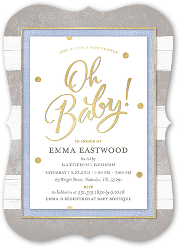 Oh Newborn Boy Baby Shower Invitation, Square