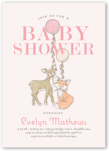 Animal Joy Girl Baby Shower Invitation, Square Corners