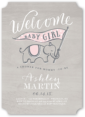 Woodgrain Welcome Girl Baby Shower Invitation, Ticket Corners