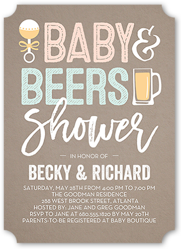 Baby And Beers 5x7 Baby Shower Invitation Shutterfly