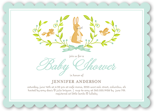 animal laurels baby shower invitation by stacy claire