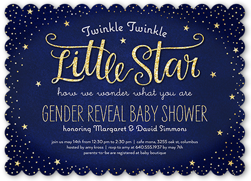 Twinkle Little Star 5x7 Photo Card Invitations | Shutterfly