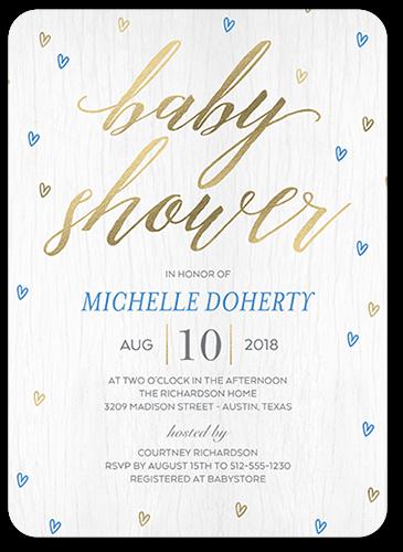 Raining Love Boy Baby Shower Invitation, Rounded Corners