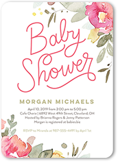 bold floral baby shower invitation 5x7 flat