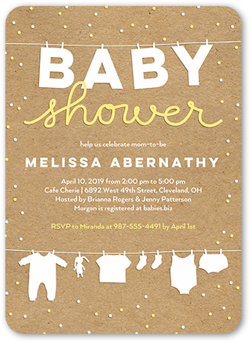 Cute Linens Baby Shower Invitation, Square