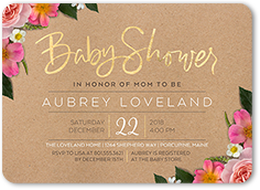 fabulous floral arrival baby shower invitation 5x7 flat