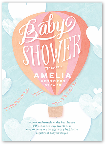 Floating Arrival Girl Baby Shower Invitation, Square Corners