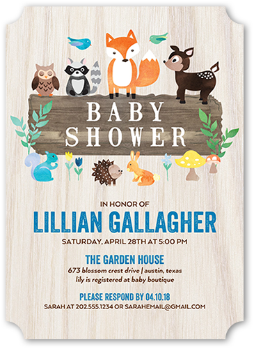 Sweet Animals Boy Baby Shower Invitation, Ticket Corners
