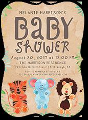 cute animal kraft baby shower invitation 5x7 flat