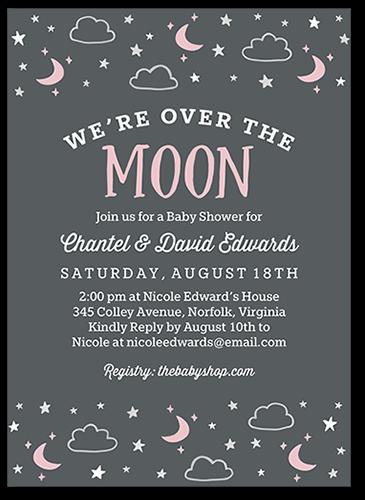 Moon And Stars Girl 5x7 Custom Baby Shower Invitations Shutterfly