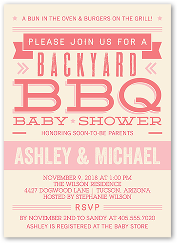 Orange baby shower invitations shutterfly backyard bash girl baby shower invitation filmwisefo