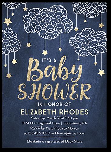 73cde70fdfe1 Starlit Clouds Boy Baby Shower Invitation