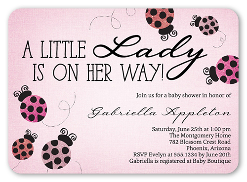 Ladybug sparkle 5x7 custom baby shower invitations shutterfly baby shower invitation visible part transiotion part front filmwisefo