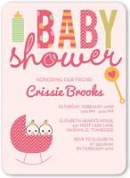 cute cradle girls baby shower invitation 5x7 flat