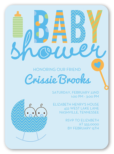 Cute Cradle Boys Baby Shower Invitation, Rounded Corners