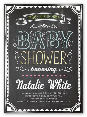 Baby Bulletin Baby Shower Invitation, Square Corners