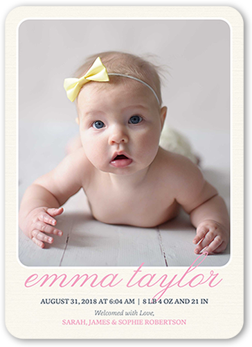 Simple Arrival Girl Birth Announcement, Rounded Corners