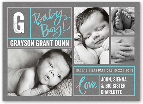 Lots Of Borders 5x7 Boy Birth Announcements – Birth Announcements Shutterfly