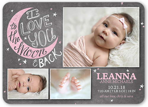 To the Moon Girl Birth Announcement