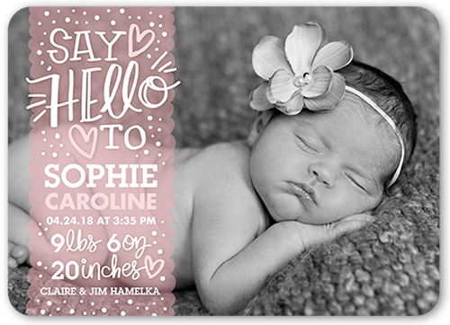 Sweetest Greeting Girl Birth Announcement